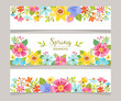 Spring horizontal banner templates with colorful flowers background. Perfect for flyers, invitations, brochures, web banners and blogs decoration. Vector illustration. - 193476377