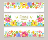 Spring horizontal banner templates with colorful flowers background. Perfect for flyers, invitations, brochures, web banners and blogs decoration. Vector illustration.