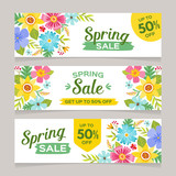 Spring sale horizontal banner templates with colorful flowers background. Perfect for vouchers, flyers, invitations, brochures, web banners and coupon discount. Vector illustration. - 193476393