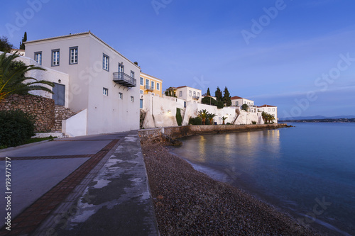 Aluminium Aubergine Morning view of traditional architecture in Spetses seafront, Greece.