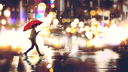 young woman listening to music on her phone and holding a red umbrella crossing a city street in the rainy night, digital art style, illustration painting © grandfailure