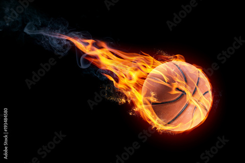 Plexiglas Basketbal basketball on fire