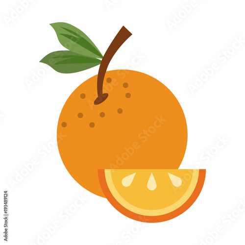 Orange sliced fruit icon vector illustration graphic design