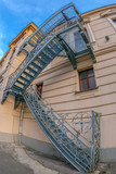 Fire escape stairs at historical building. National Theater in Oradea, Romania - 193491749