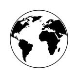 globe world earth planet map icon vector illustration outline