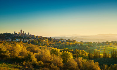 San Gimignano medieval town towers skyline and landscape. Tuscany, Italy