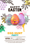Fototapety Easter egg hunt party vector poster design template. 3d decorative egg on watercolor splashes abstract background. Concept for banner, flyer, invitation, greeting card, holiday backgrounds.