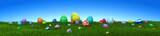 Colorful Easter eggs on green grass with blue sky - 3d render - 193502361