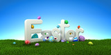 Easter text with colorful eggs on green grass with blue sky - 3d render - 193502390