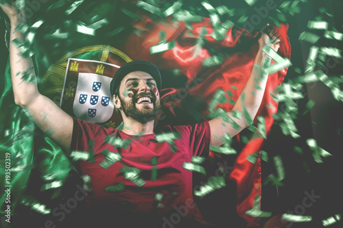 Portuguese fan celebrating