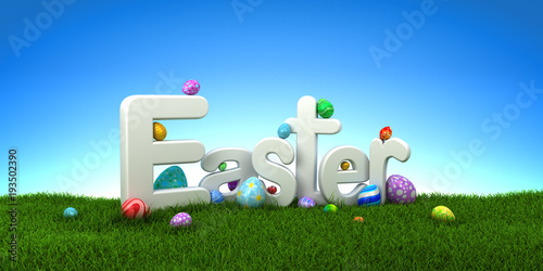 Easter text with colorful eggs on green grass with blue sky - 3d render