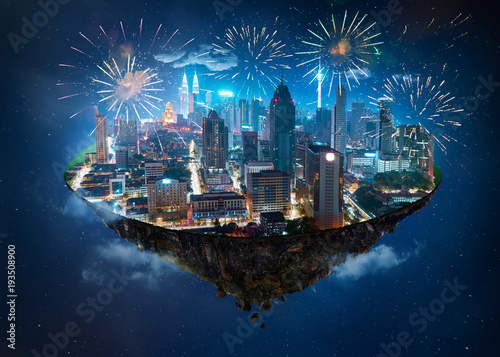 Aluminium Kuala Lumpur Fantasy island floating in the air with modern city skyline and lake garden, Night scene with firework celebration.
