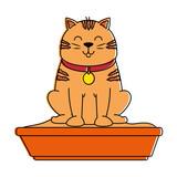 cute cat mascot with sand box vector illustration design - 193514765
