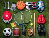 Various Sport Equipments On Grass
