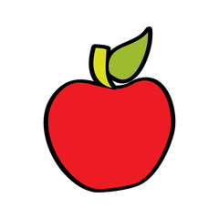 red fruit tasty apple delicious food vector illustration