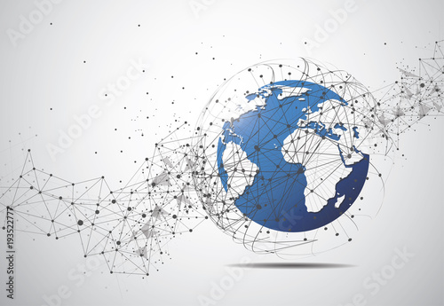 Poster Global network connection. World map point and line composition concept of global business. Vector Illustration