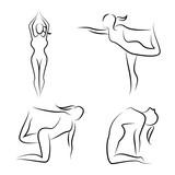Hand Drawn Yoga Posture Set Wall Sticker