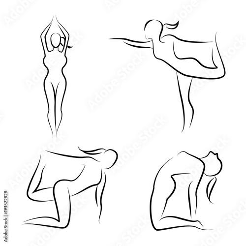 Sticker hand drawn yoga posture set