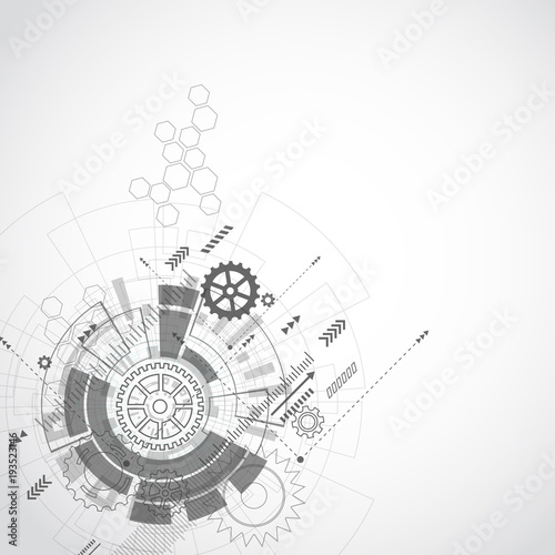 Abstract Technology Grey geometric background with gear shape. Vector graphic design