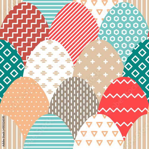 Cotton fabric Vector Easter seamless pattern of colorful flat eggs with hatching.