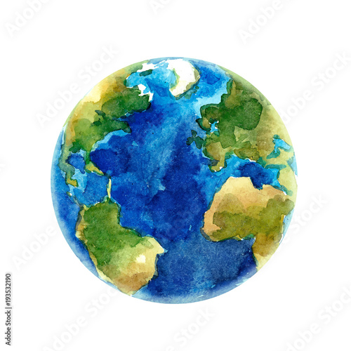 Watercolor Earth planet vector illustration - 193532190
