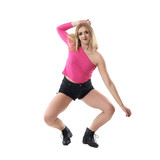 Flexible crouching blonde woman jazz dancer moving in choreography poses. Full body length portrait isolated on white studio background.  - 193543325