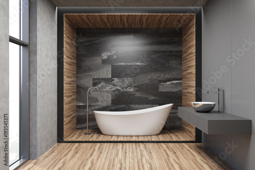 Gray, wooden and marble bathroom