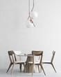 White and wooden minimalistic dining room interior - 193545934