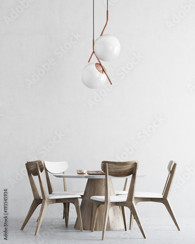 White and wooden minimalistic dining room interior