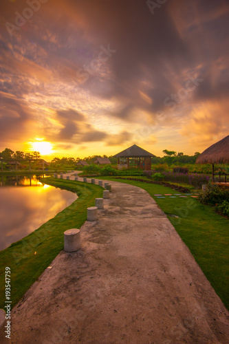 Tuinposter Diepbruine Amazing Sunset view From Bintan Island