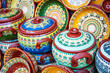 Colorful ceramic dishes. Traditional bugarian patterns