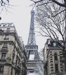 Eiffel tower under snow