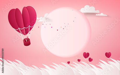 illustration of love and valentine day,Hot air balloon flying over cloudy with the sun  on the sky.paper art style
