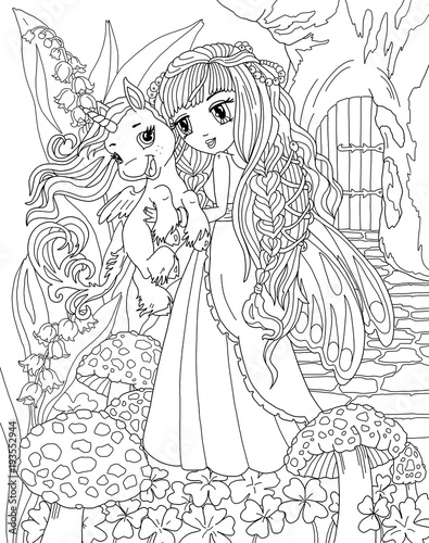Coloring page Unicorn and Princess