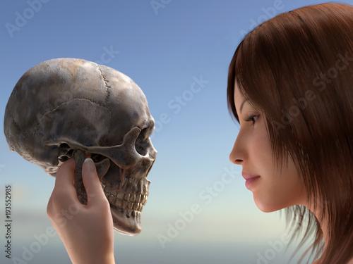 woman holding a human skull