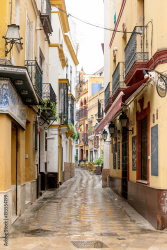 SEVILLA, SPAIN - ANUARY 13, 2018: Antique building view in Old Town Sevilla, Spain