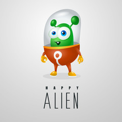 funny cartoon alien in the space suit, a friendly green Martian, character for the company in the modern 3D style
