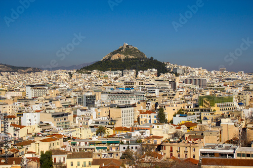 In de dag Athene Panoramic view of Athens with Lycabettus hill in the background.