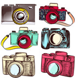 Collection of vector hipster cameras - 193556970
