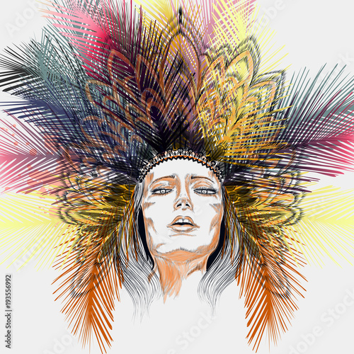 Fashion illustration boho Indian girl with head dress from jungle tropical palm leafs - 193556992