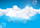 Easter Holiday illustration with cloud on blue sky background. He is risen. Vector Christian religious design for resurrection celebrate theme. - 193557333