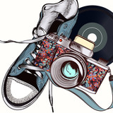 Fashion illustration with camera and hipster sneakers - 193557961