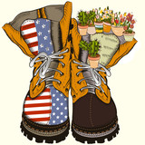 Fashion illustration with military boots with US flag and flowers. No war concept - 193559568