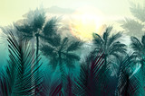 Tropical vector jungle landscape with palm trees and leafs. Morning green light - 193564124
