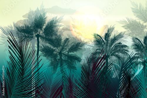 tropikalny-wektor-krajobraz-dzungli-z-palmami-i-lisci-rano-zielone-swiatlo