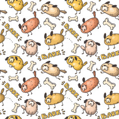 seamless vector pattern with doodle dogs