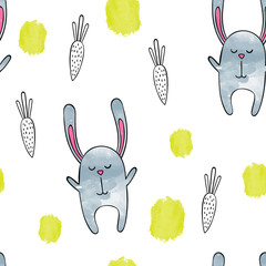 Watercolor seamless pattern vector / background. Cute Bunny