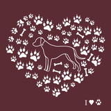 Dalmatian silhouette on a background of dog tracks and bones in the form of heart.