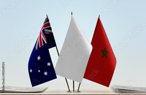 Papiers peints Maroc Flags of Australia and Morocco with a white flag in the middle