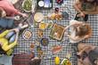 Vegan friends eating healthy food